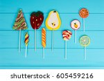 colorful bright lollipops as... | Shutterstock . vector #605459216