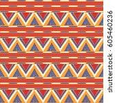 tribal pattern vector seamless. ... | Shutterstock .eps vector #605460236