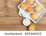coconut muffins. pennant flags... | Shutterstock . vector #605460422