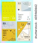 set of party invitations or... | Shutterstock .eps vector #605460662