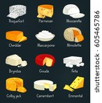 sliced cheese food like... | Shutterstock .eps vector #605465786