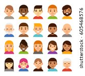 set of diverse male and female... | Shutterstock . vector #605468576