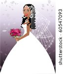 Raster version. A beautiful biracial woman on her wedding day. - stock photo