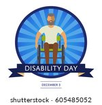 december 3   world disability... | Shutterstock .eps vector #605485052