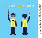 Kazakhstan police officer character. Police department. Vector illustration.