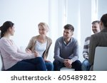 people talking in circle during ... | Shutterstock . vector #605489822