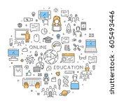 round line banner for online... | Shutterstock .eps vector #605493446