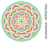 mandala. vector ethnic oriental ... | Shutterstock .eps vector #605507462
