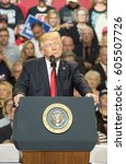 Small photo of Louisville, Kentucky – March 20, 2017: President Donald J. Trump addresses a crowd at a rally inside Freedom Hall in Louisville, Kentucky, on March 20, 2017.