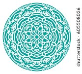 mandala. vector ethnic oriental ... | Shutterstock .eps vector #605508026