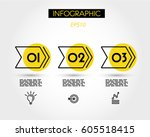 three yellow double infographic ... | Shutterstock .eps vector #605518415