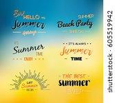 enjoy the summer time logo... | Shutterstock .eps vector #605519942