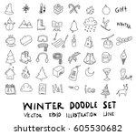 doodle sketch winter icons... | Shutterstock .eps vector #605530682