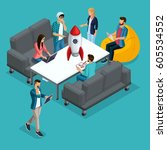 trendy isometric people  3d... | Shutterstock .eps vector #605534552