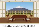 japanese room style hotel... | Shutterstock .eps vector #605535446