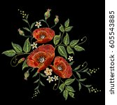 poppies embroidery on black...   Shutterstock .eps vector #605543885