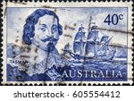 Small photo of UKRAINE - CIRCA 2017: A stamp printed Australia, shows the portrait of Dutch merchant Abel Janszoon Tasman and his ship Heemskerck, circa 1966