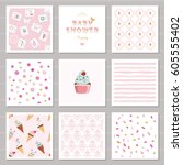 cute card templates and... | Shutterstock .eps vector #605555402