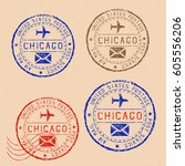 collection of chicago postal... | Shutterstock .eps vector #605556206