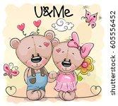 two cute cartoon bears on... | Shutterstock .eps vector #605556452