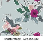 vector seamless pattern hand... | Shutterstock .eps vector #605556632