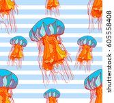 seamless pattern with jellyfish ... | Shutterstock .eps vector #605558408