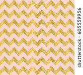 Vector Gold glittering confetti seamless pattern on chevron background. gold and pink. | Shutterstock vector #605559956