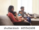 family with son and daughter... | Shutterstock . vector #605562608