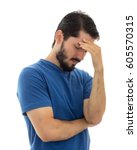 bearded man with severe... | Shutterstock . vector #605570315