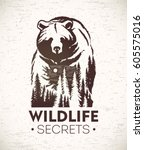 Bear, vector Illustration of a combined with a landscape symbolizing wildlife. | Shutterstock vector #605575016