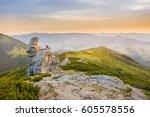 man meditates in a lotus...   Shutterstock . vector #605578556