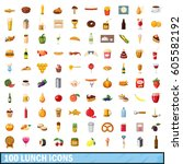 100 lunch icons set in cartoon... | Shutterstock .eps vector #605582192