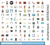 100 finance icons set in... | Shutterstock .eps vector #605582462