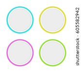 set of colored round buttons... | Shutterstock . vector #605582942