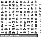 100 building icons set in... | Shutterstock .eps vector #605583812