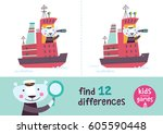 find the differences. kids... | Shutterstock .eps vector #605590448