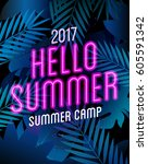 summer camp poster with neon... | Shutterstock .eps vector #605591342