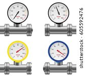 pressure gauge pipe set... | Shutterstock .eps vector #605592476