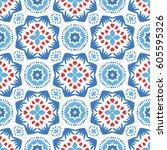 abstract flower pattern.... | Shutterstock .eps vector #605595326