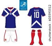 set of soccer kit or football...   Shutterstock .eps vector #605595512