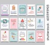 baby shower card set for boy... | Shutterstock .eps vector #605595905