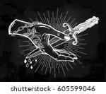 traditional tattoo flash hand... | Shutterstock .eps vector #605599046