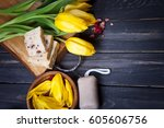 spa setting with yellow tulips...   Shutterstock . vector #605606756