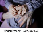 hands of the old woman and...   Shutterstock . vector #605609162