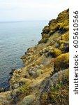 Small photo of Greece, Samothrace, rocky coast on aegean sea