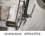 old white bicycle whist on a... | Shutterstock . vector #605614526