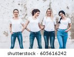 group of four young diverse... | Shutterstock . vector #605616242