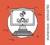 satellite insurance application ... | Shutterstock .eps vector #605616782
