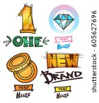 set of social icons in hand...   Shutterstock .eps vector #605627696