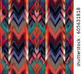 abstract ethnic ikat pattern... | Shutterstock . vector #605631818